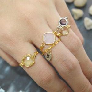 Chain ring, Gold Frame ring, Purple..