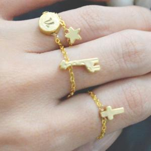 Chain ring,Cross ring, Gold cross r..