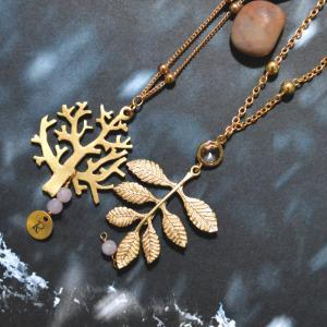 Initial leaf necklace, Mini bird ne..