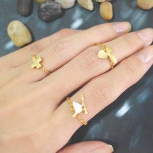 E-016 Bird ring, Gold bird ring, Ch..