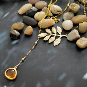 A-070 Leaf necklace, Dangle necklac..