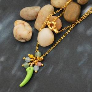 A-047 Glass beads necklace, Simple ..
