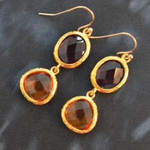 SALE) B-038 Glass earrings, Amethys..