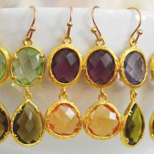 SALE) B-037 Glass earrings, Chrysol..
