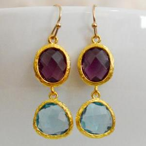 SALE) B-035 Glass earrings, Amethys..