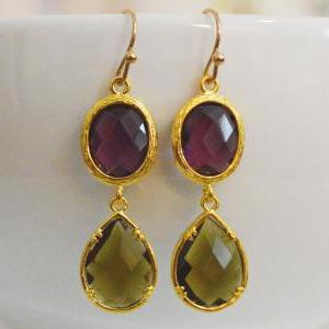 SALE) B-033 Glass earrings, Amethys..