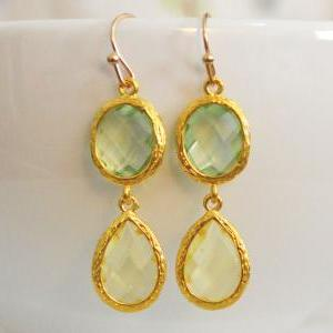 SALE) B-031 Glass earrings, Chrysol..