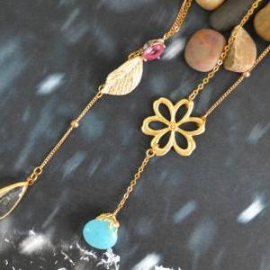 A-039 Flower pendant necklace, Aqua..