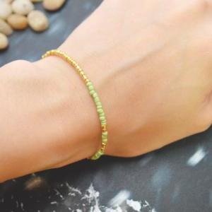 C-066 Gold Beaded bracelet, Seed be..
