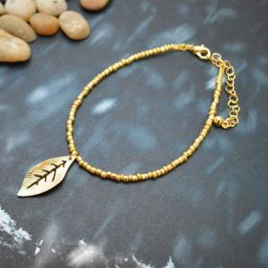 C-056 Gold Beaded bracelet, Seed be..