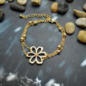 C-037 Flower bracelet, Double layer..