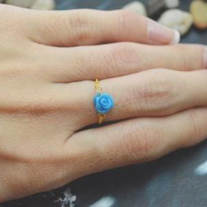 E-037 Rose ring, Chain ring, Flower..