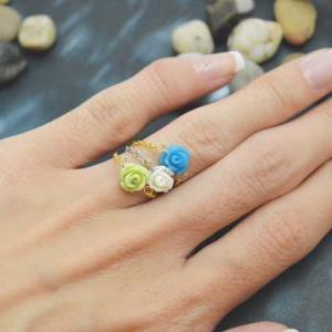 E-035 Rose ring, Chain ring, Flower..