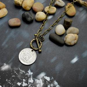 A-119 Antique coin necklace, Chunky..