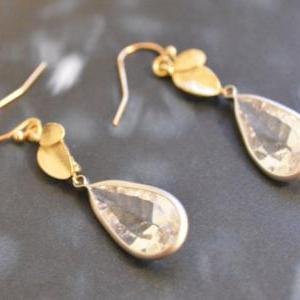 B-018 Leaf earrings, Bezel set crys..