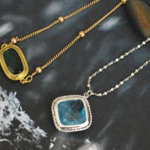 A-114 Aquamarine necklace, Infinity..
