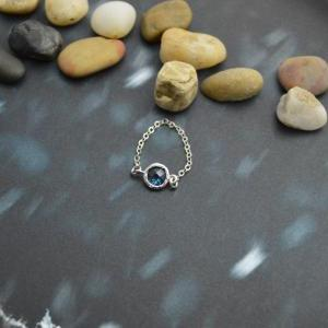 E-028 Blue Glass ring, Silver Frame..