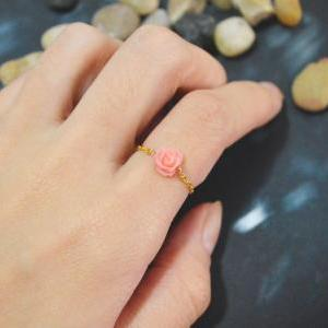 E-025 Rose ring, Chain ring, Flower..