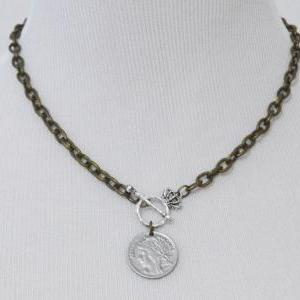 A-109 Antique coin necklace, Chunky..