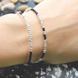 C-098 Silver Beaded bracelet, Layer..