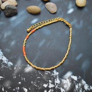 C-092 Gold Beaded bracelet, Seed be..