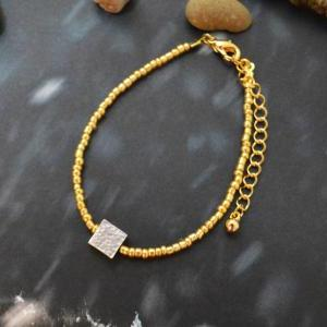 C-114 Gold Beaded bracelet, Seed be..