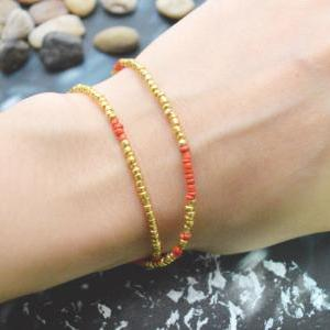 C-099 Gold Beaded bracelet, Layered..