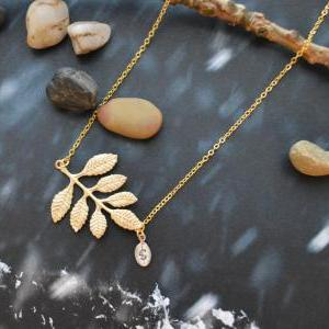 A-167 Leaf necklace, Personalized i..