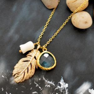 A-061Feather necklace,Bezel set gla..