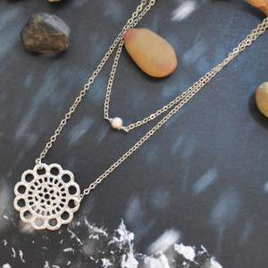 A-170 Layered pendant necklace, Dou..