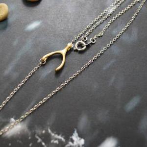 A-178 Sideways wishbone necklace, A..