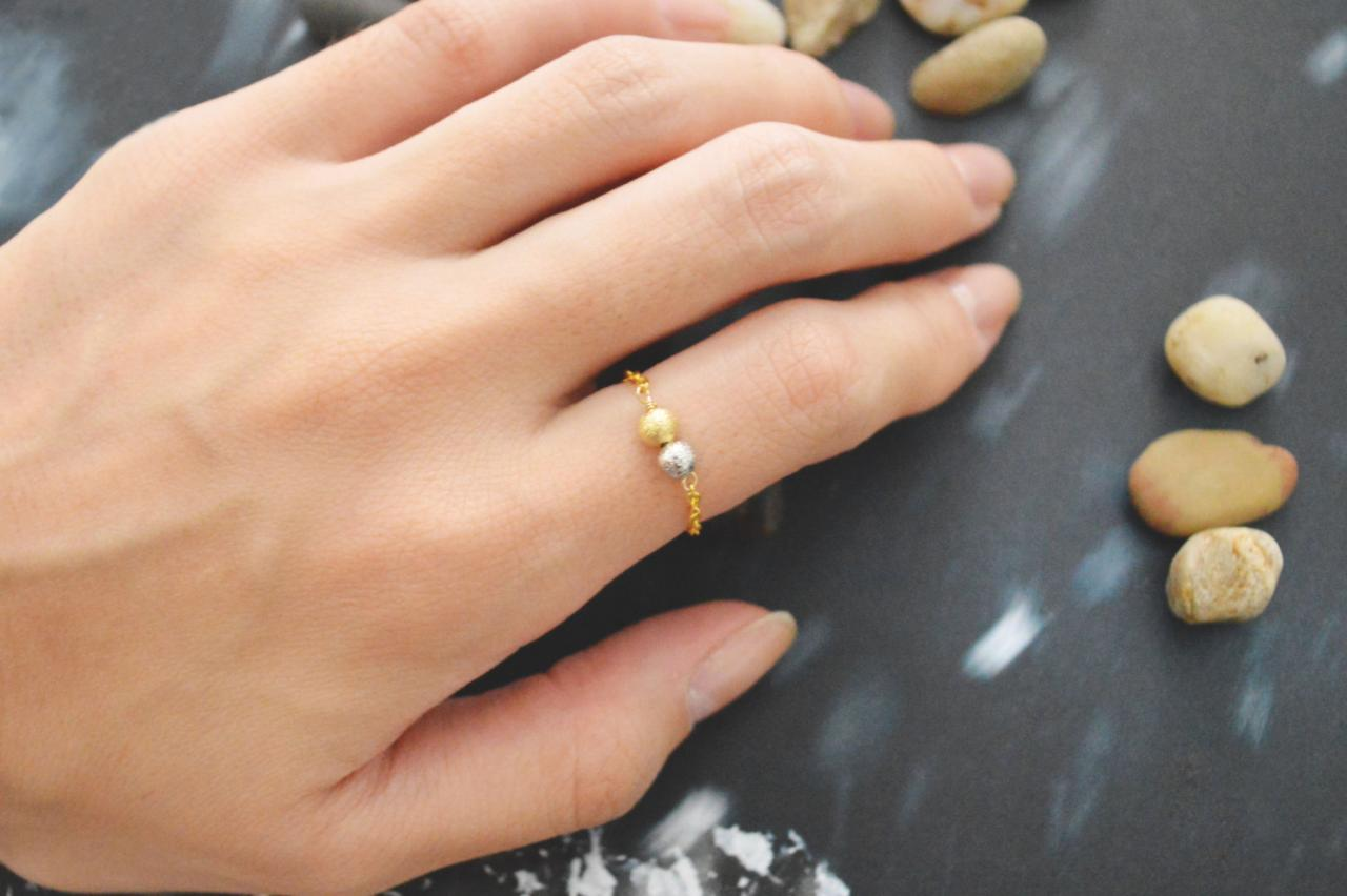 Chain ring, Metal bead ring, Beads ring, Simple ring, Modern ring, Rhodium and Gold plated ring/Everyday/Gift/