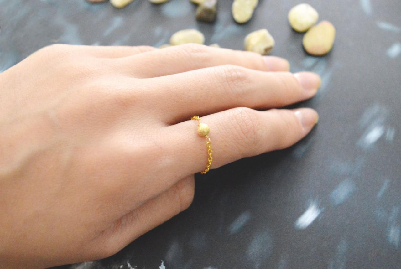 Chain ring, Metal bead ring, Beads ring, Simple ring, Modern ring, Gold plated ring/Everyday/Gift/