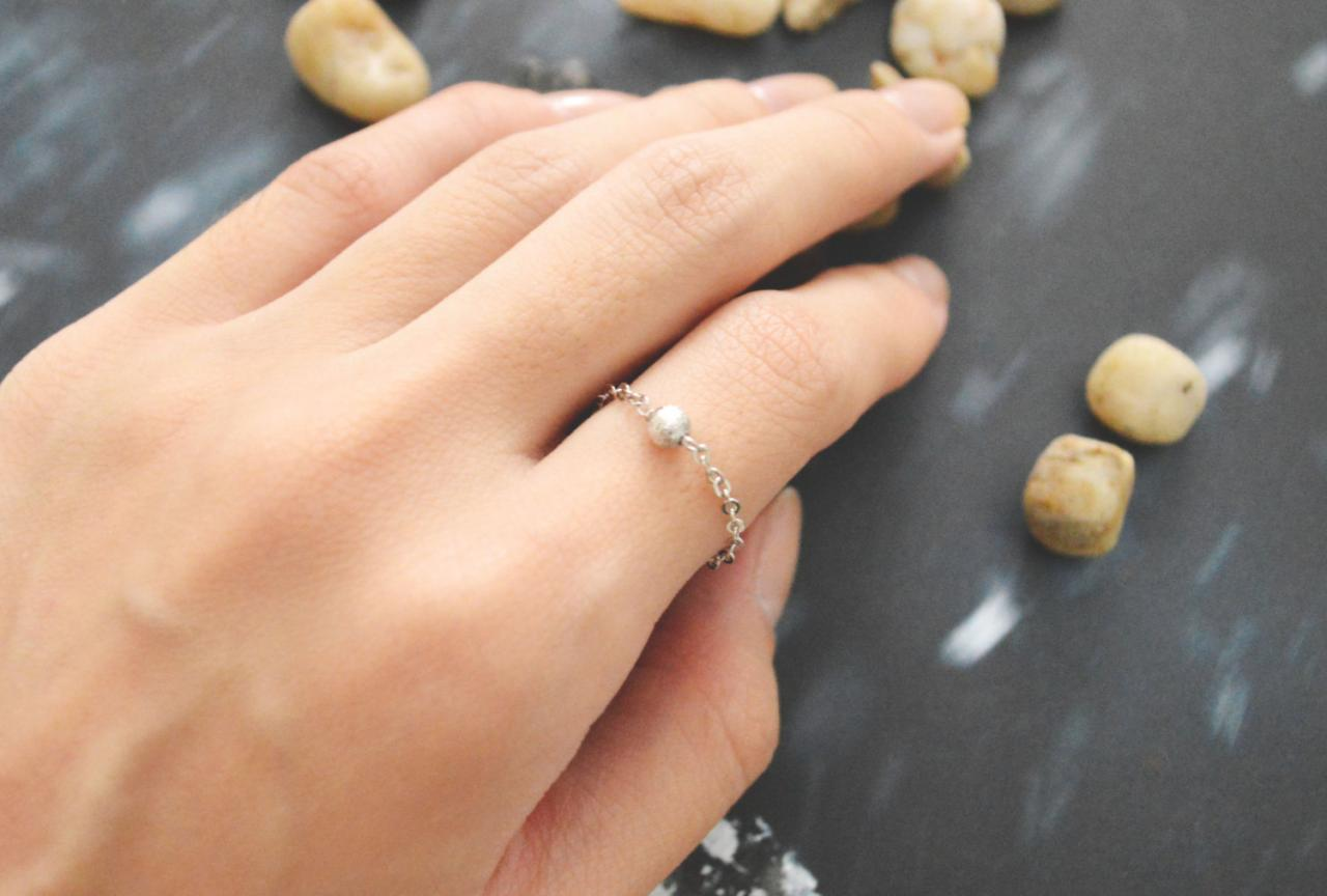 Chain ring, Metal bead ring, Beads ring, Simple ring, Modern ring, Rhodium plated ring/Everyday/Gift/