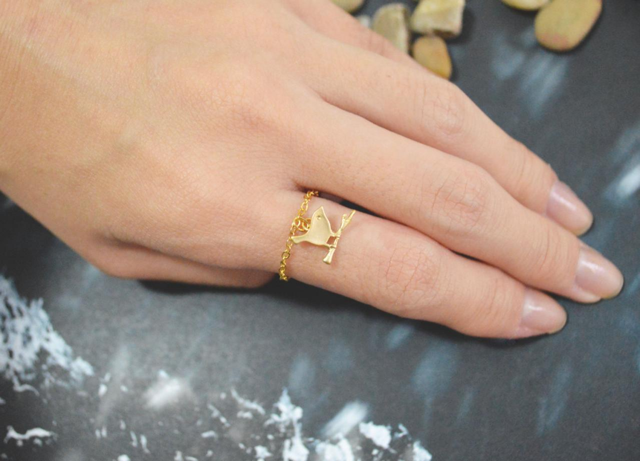 Chain ring, Bird ring, Gold bird ring, Simple ring, Modern ring, Gold plated ring/Everyday/Gift/