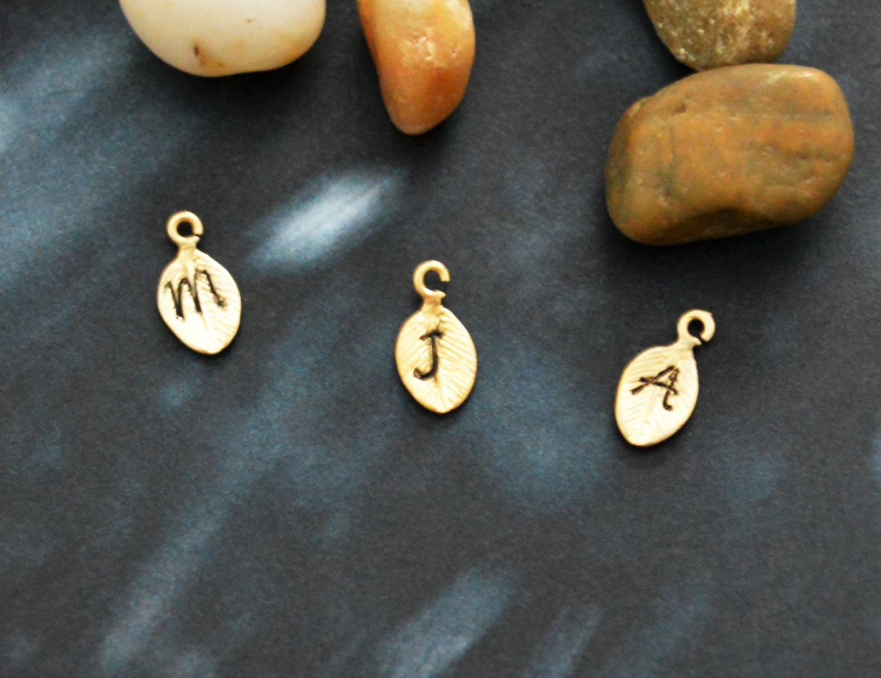 Add initials, Initial pendant, Leaf pendant, Initial charm, Add charms, Leaf charm, Gold plated, Findings/Necklace/Earrings/Bracelet/