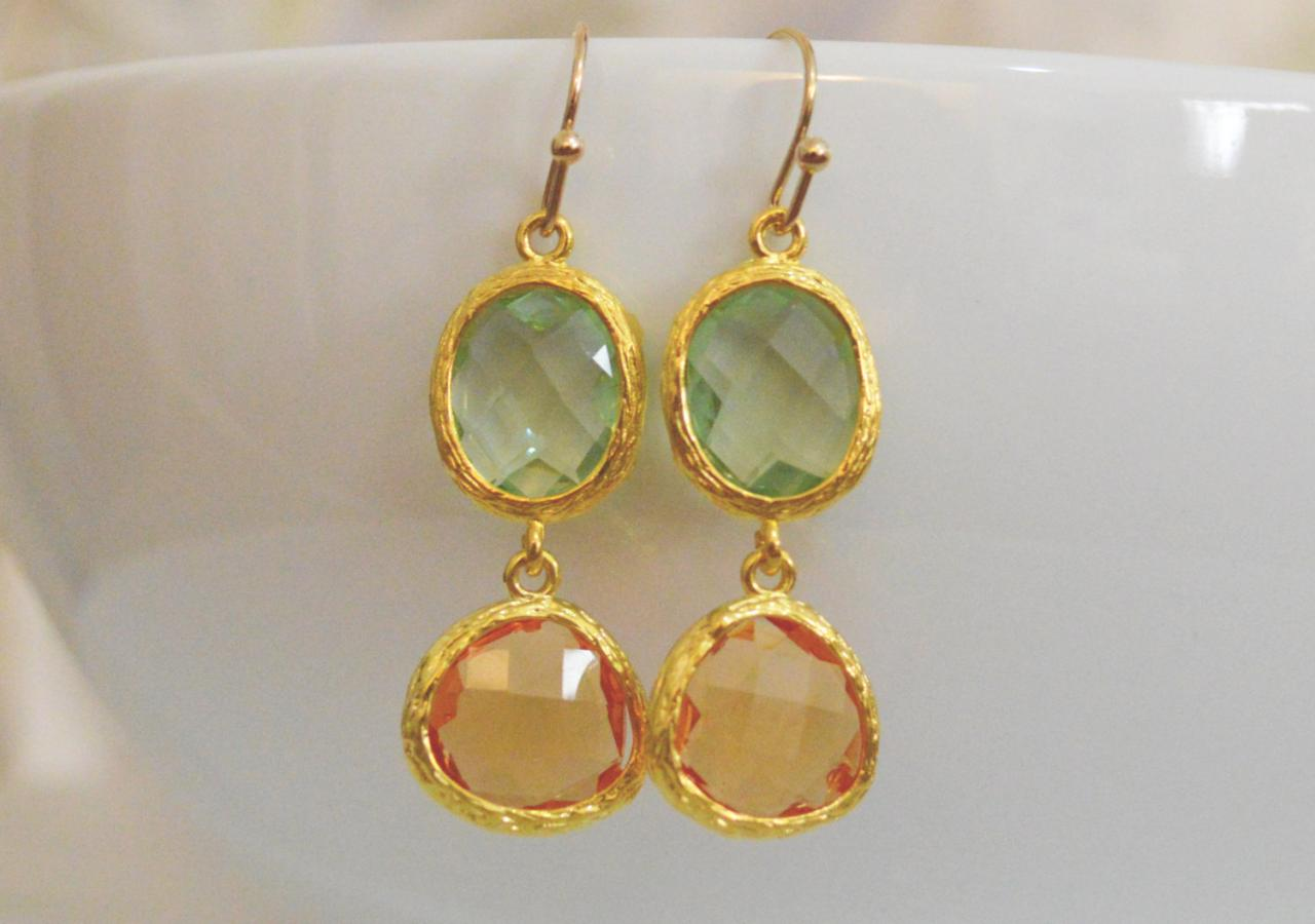 SALE10%) B-023 Glass earrings, Light green&topaz drop earrings, CZ Dangle earrings, Gold plated earrings/Bridesmaid gifts/Everyday jewelry/