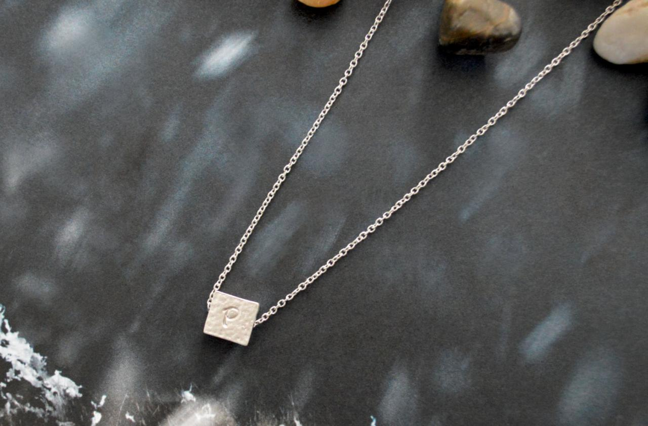 A-071 Personalized initial necklace, Silver square necklace, White gold rhodium plated chain/Bridesmaid gifts/Everyday jewelry/