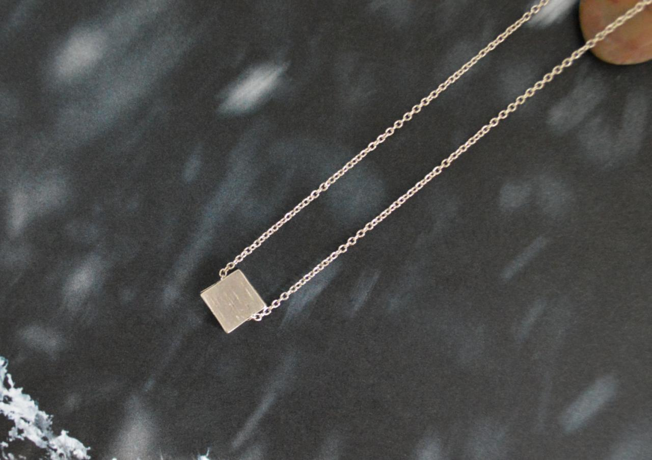 A-026 Mini silver square, Simple necklace, Modern necklace, White gold rhodium plated chain/Bridesmaid gifts/Everyday jewelry/