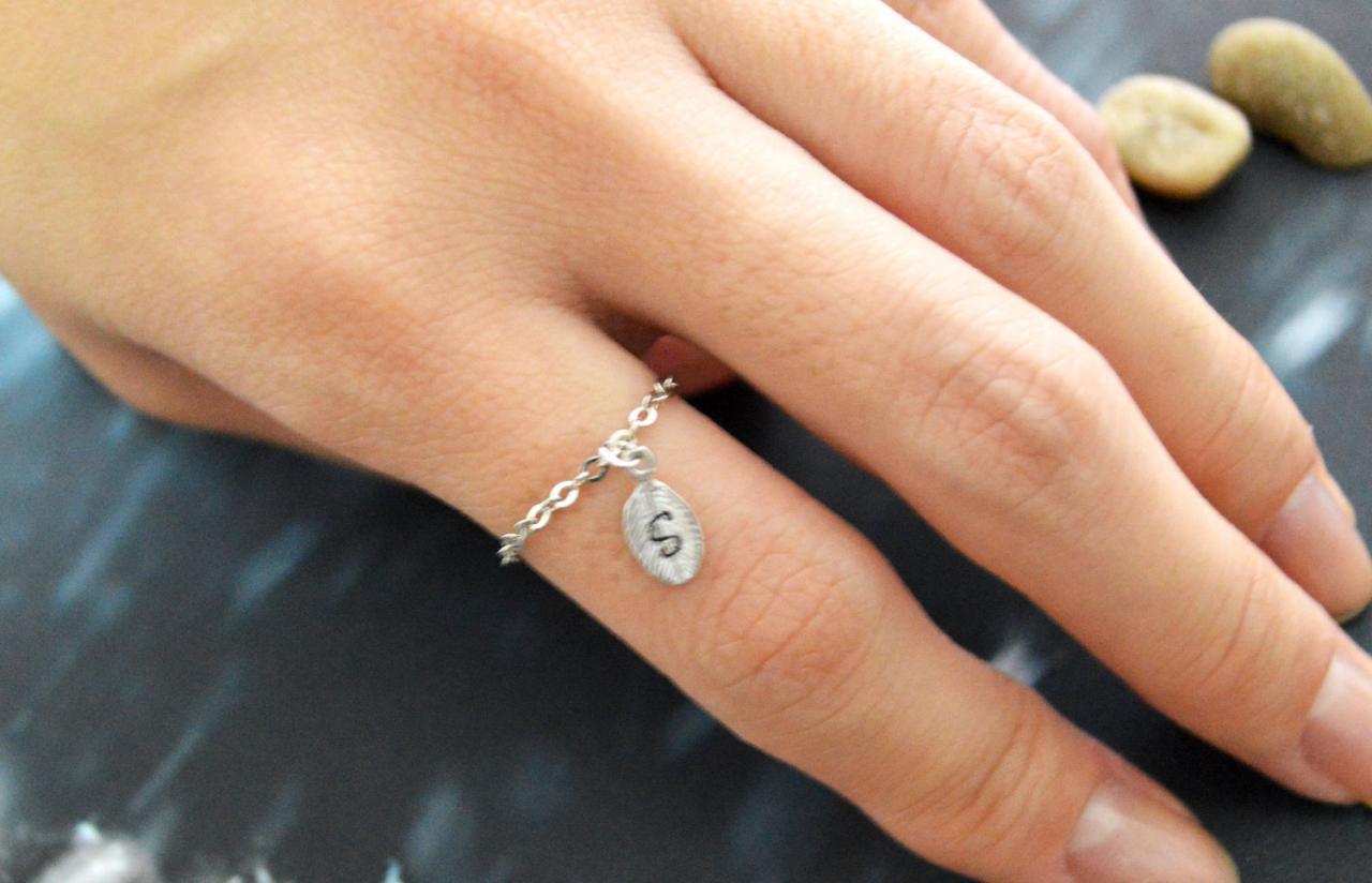 E-009 Personalized Initial ring, Leaf ring, Chain ring, Simple ring, Modern ring, Silver plated ring/Everyday/Gift/