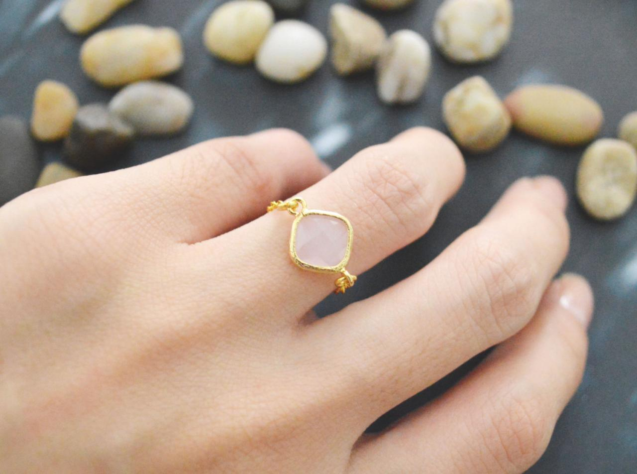 E-013 Ice Pink Glass ring, Gold Frame ring, Chain ring, Simple ring, Modern ring, Gold plated ring/Everyday/Gift/