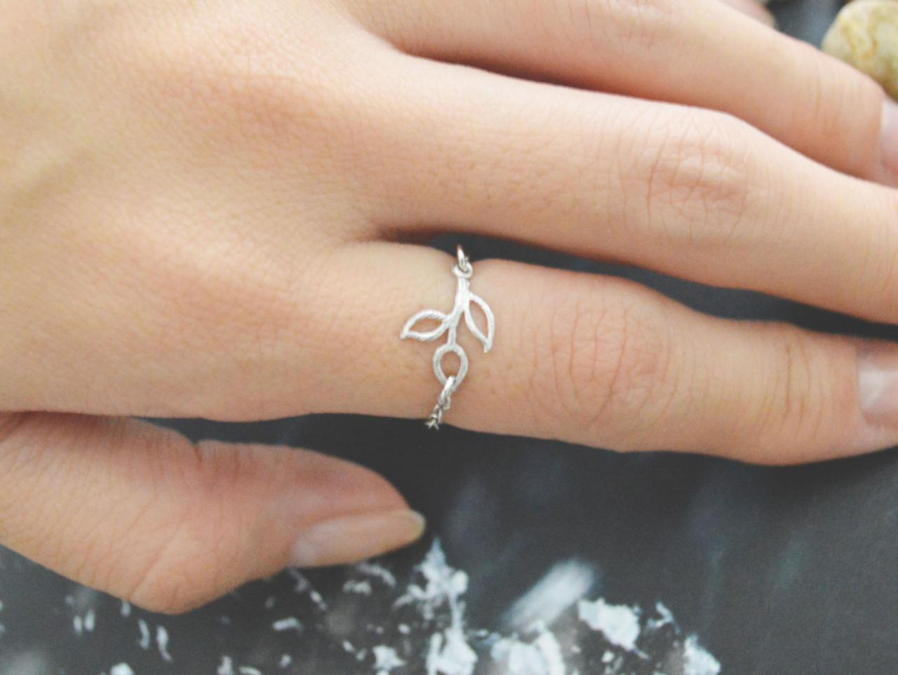 E-007 Small Leafs ring, Pendant ring, Chain ring, Simple ring, Modern ring, Silver plated ring/Everyday/Gift/