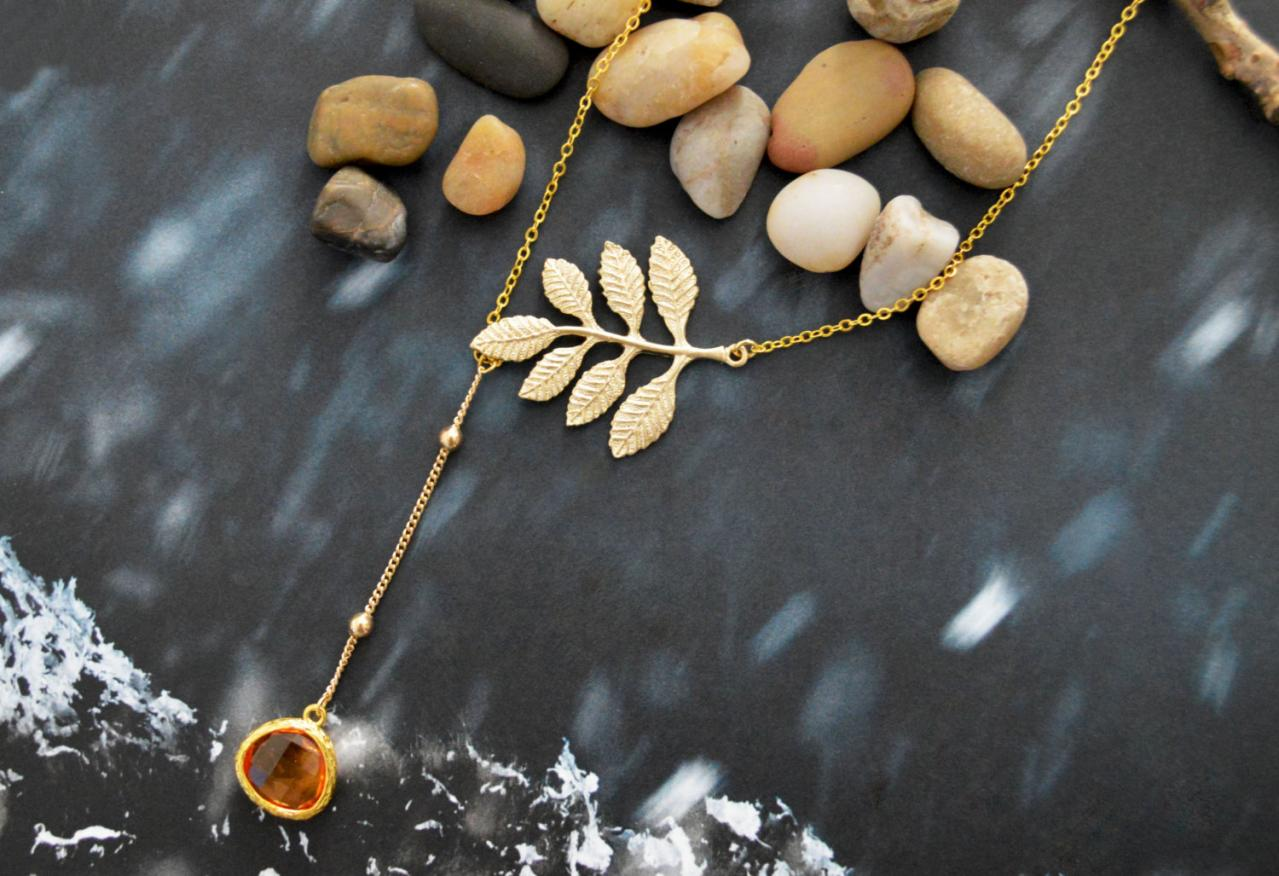 A-070 Leaf necklace, Dangle necklace, Asymmetrical topaz Necklace, Drop necklace, Gold plated chain/Everyday jewelry /Special gift/