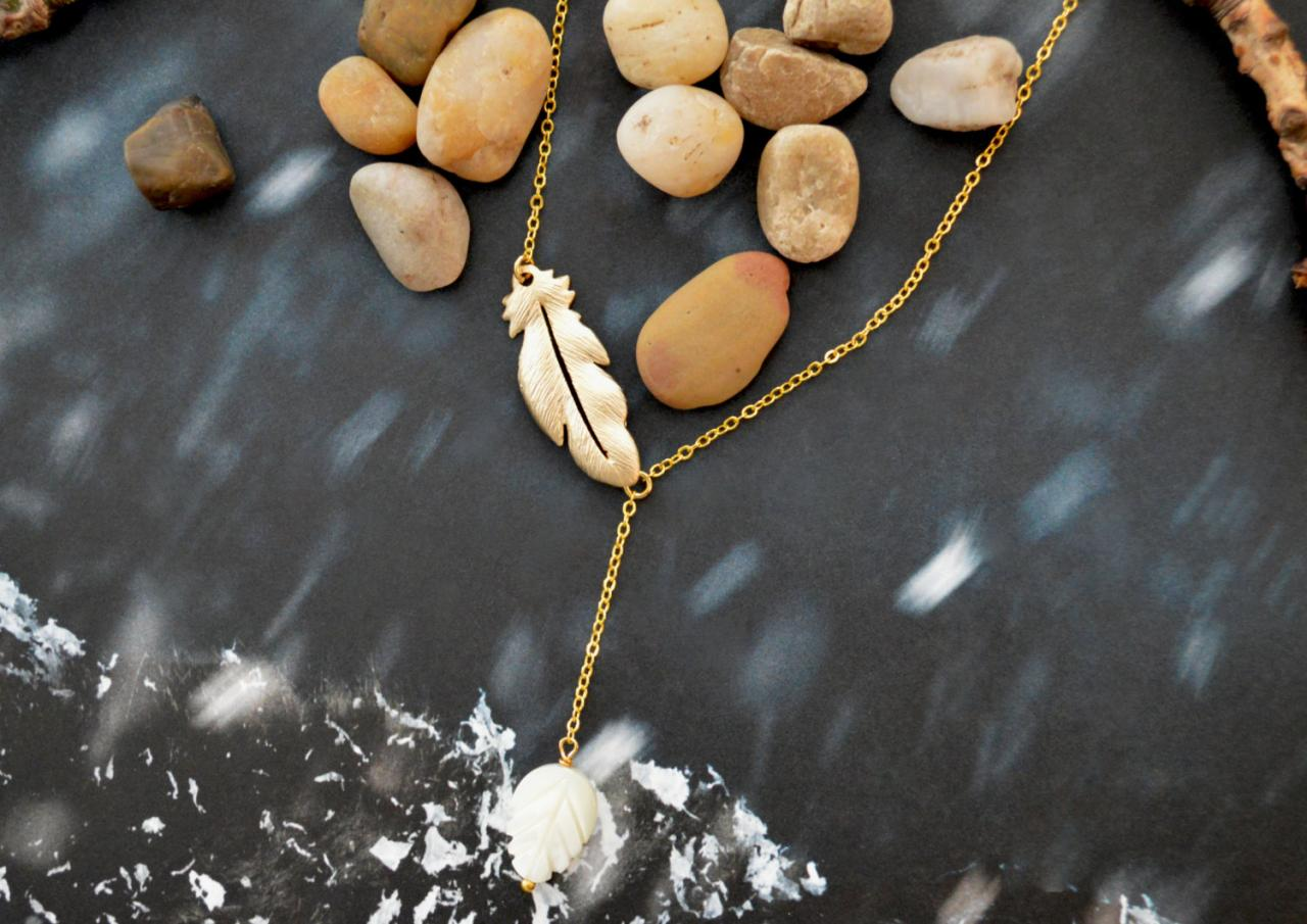A-062 Feather pendant necklace, Seashell leaf necklace, Gold plated necklace/Bridesmaid gifts/Everyday jewelry/