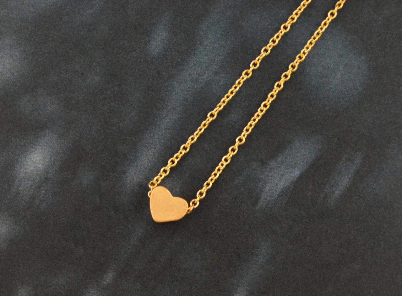 A-003 Heart necklace, Simple Necklace, Modern necklace, Girls necklace, Gold plated necklace/ Bridesmaid gifts / Everyday jewelry /