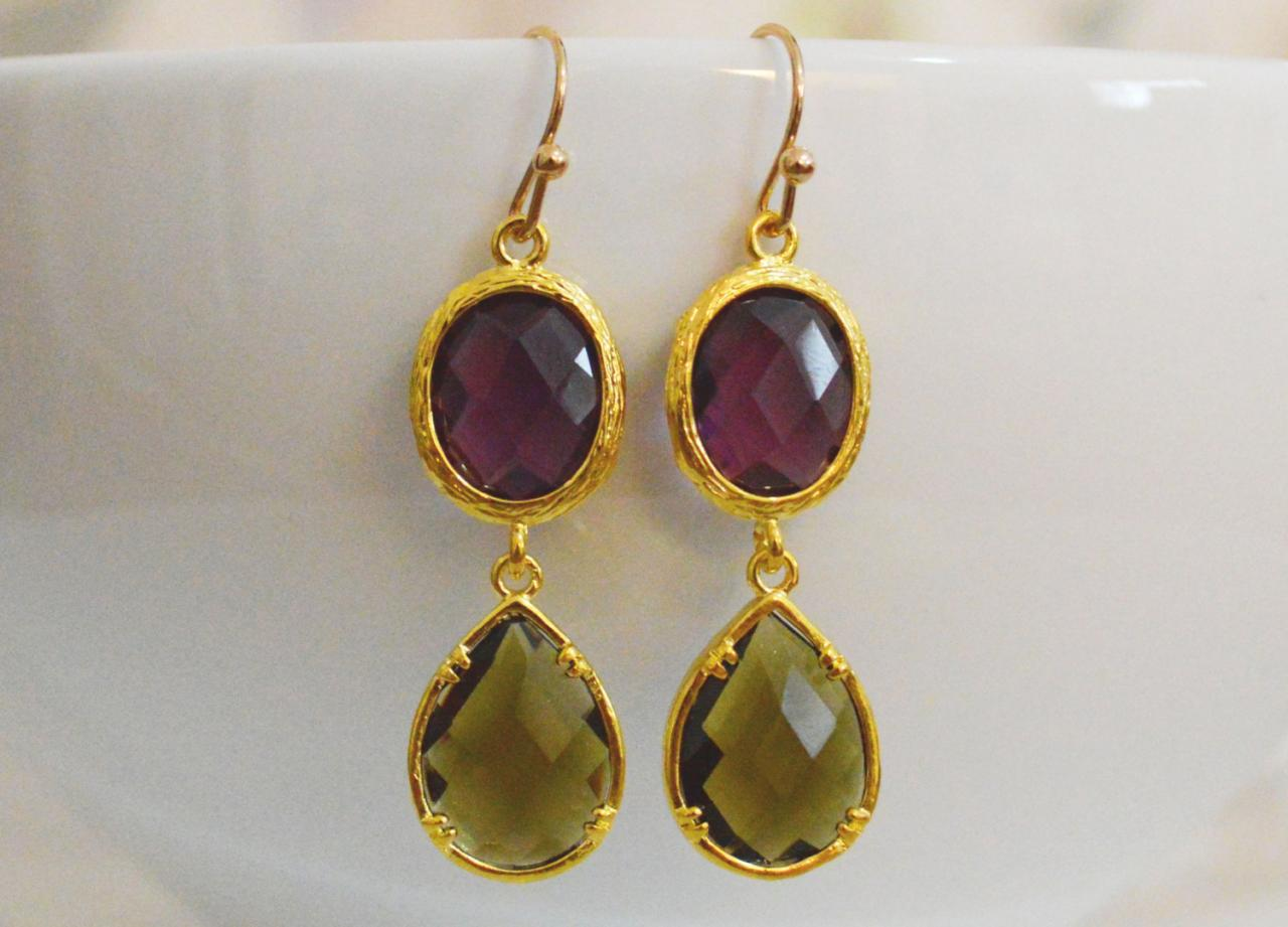 SALE) B-033 Glass earrings, Amethyst & morion drop earrings, Dangle earrings, Gold plated earrings/Bridesmaid gifts/Everyday jewelry/