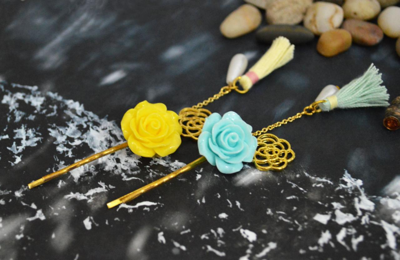 SALE) D-001 Cabochon extension with flower pendant, pearl & tassel hairpin, Gold plated hairpin/Everyday accessory/