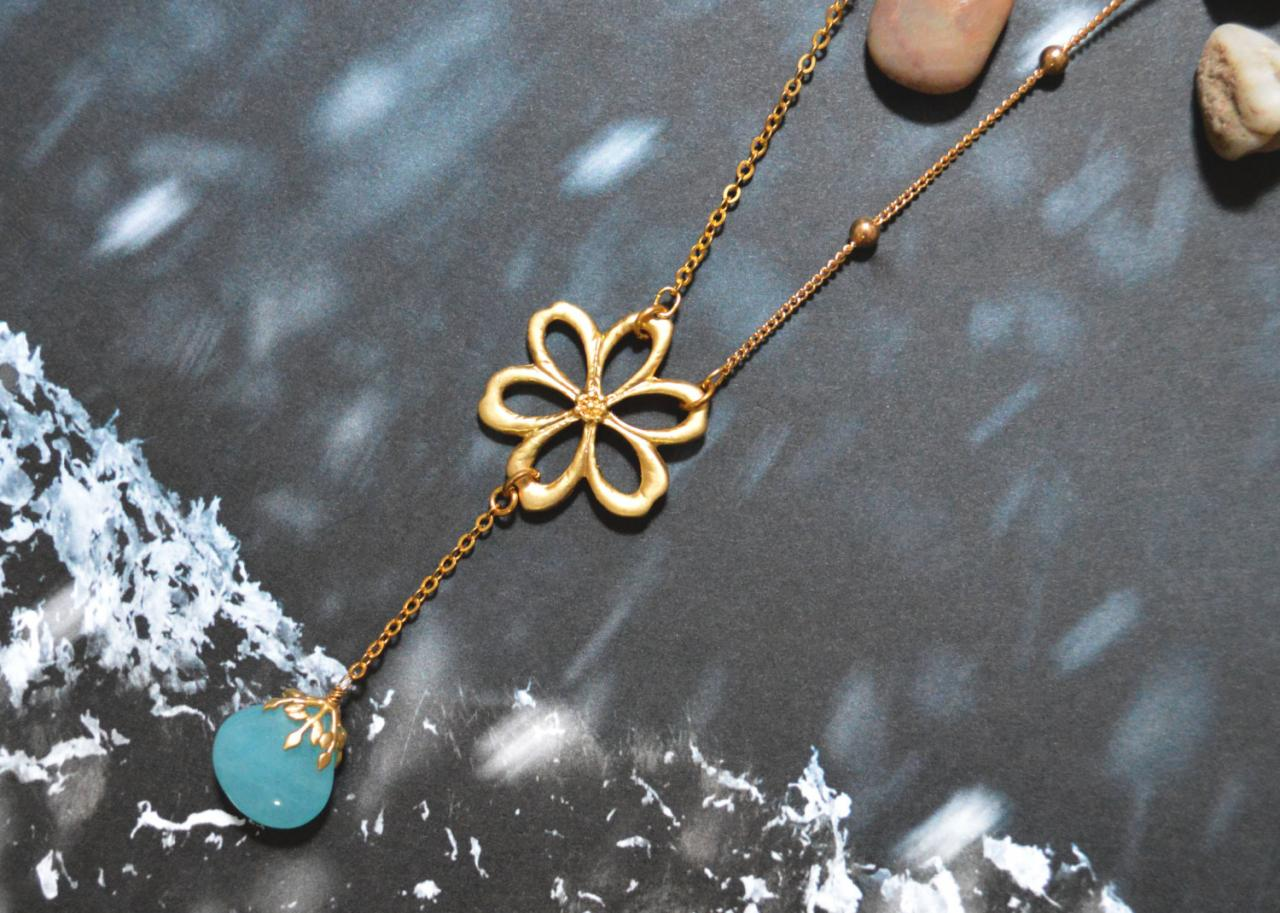 A-039 Flower pendant necklace, Aqua chalcedony drop necklace, Gold plated ball and flat-o chain/Bridesmaid gifts/Everyday jewelry/
