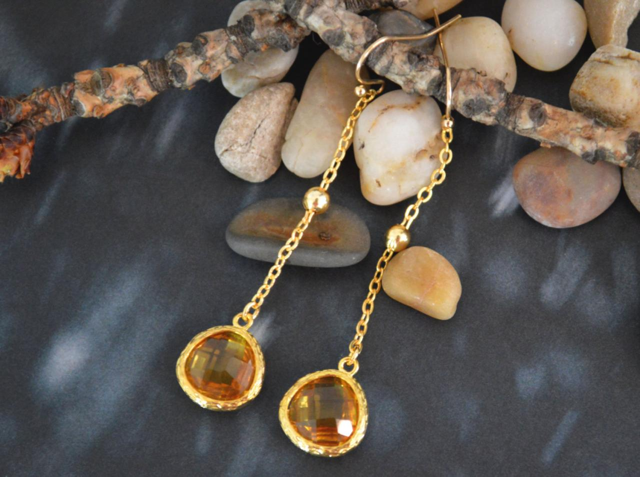 SALE) B-009 Glass topaz earrings, Bezel set drop earring, Dangle earrings,Gold plated ball chain/Special gifts/ Everyday jewelry/