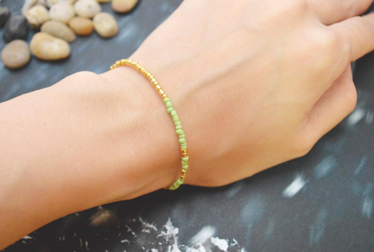 C-066 Gold Beaded bracelet, Seed bead bracelet, Simple bracelet, Modern bracelet/Everyday jewelry/